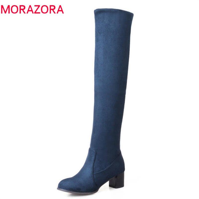 100% QualitäT Morazora 2018 Neue Mode Flock Leder Frauen über Das Knie Stiefel Slip Auf Sexy High Heels Frauen Schuhe Lace Up Winter Stiefel Seien Sie In Geldangelegenheiten Schlau