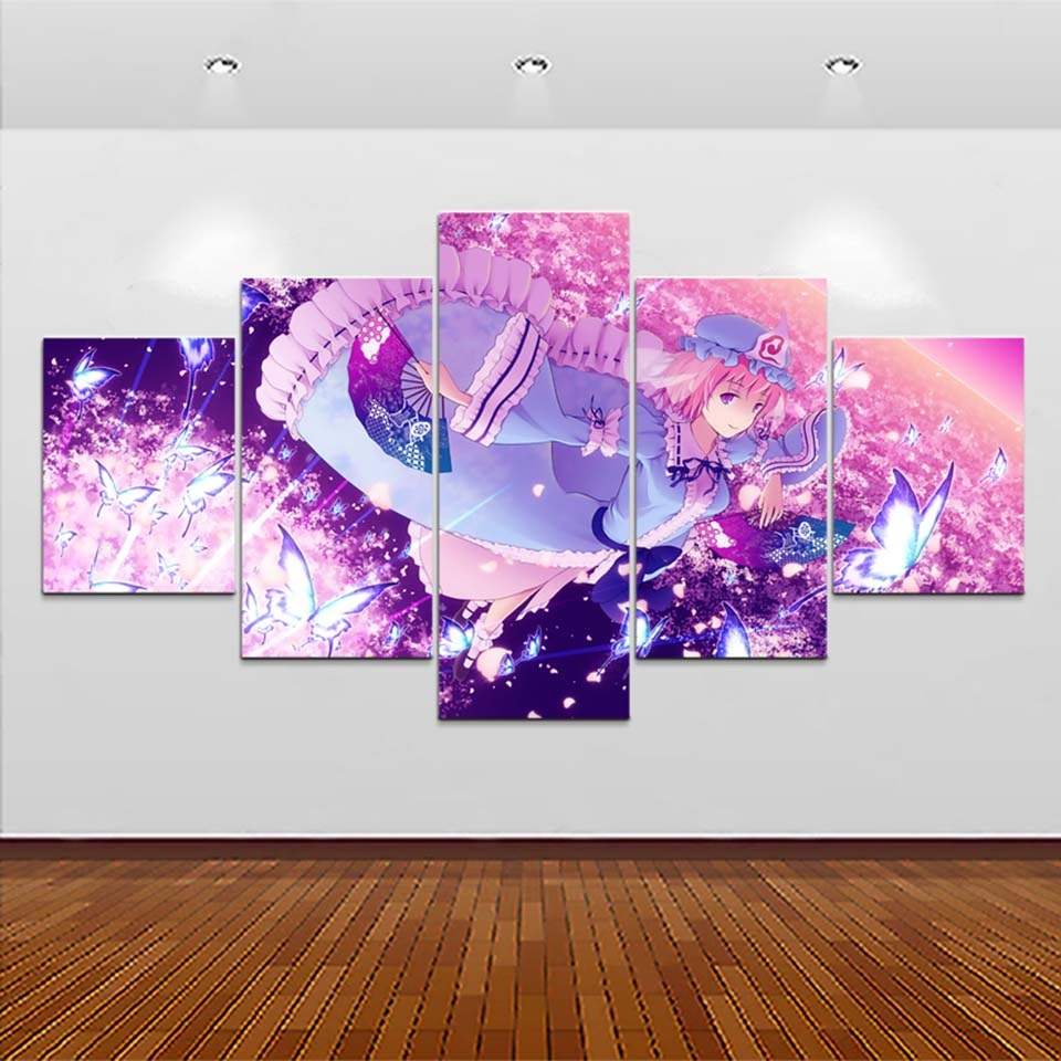Prints Pictures Home Decor 5 Pcs Saigyouji Butterfly Anime Wall Art Modular Poster Abstract Painting On Canvas Living Room Frame in Painting Calligraphy from Home Garden
