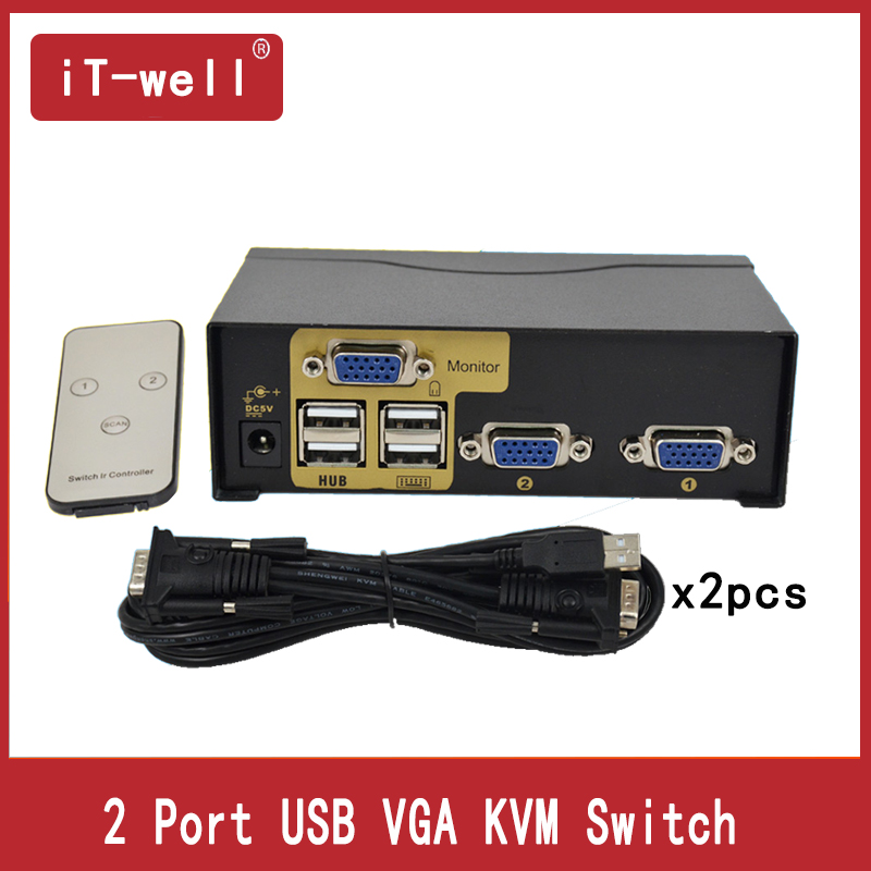 SMART  KVM Switch 2 Port  VGA SVGA Switch Adapter Connect Printer Keyboard Mouse 2 Computer Use 1 Monitor