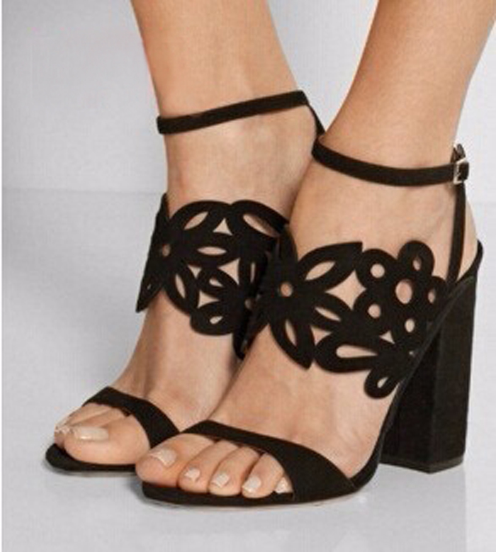 New 2017 Summer Square High Heels Fretwork Buckle Strap Women Sandals Open Toe Hollow Out High-heeled Shoes Sandalias Mujer sgesvier fashion women sandals open toe all match sandals women summer casual buckle strap wedges heels shoes size 34 43 lp009