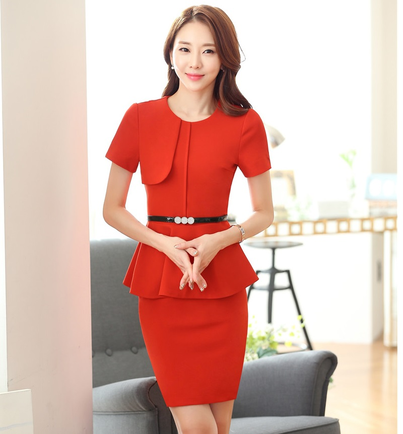 Summer Formal Red Slim Fashion Business Women Skirt Suits With Tops And Skirt Short Sleeve Ladies Beauty Salon Office Outfits