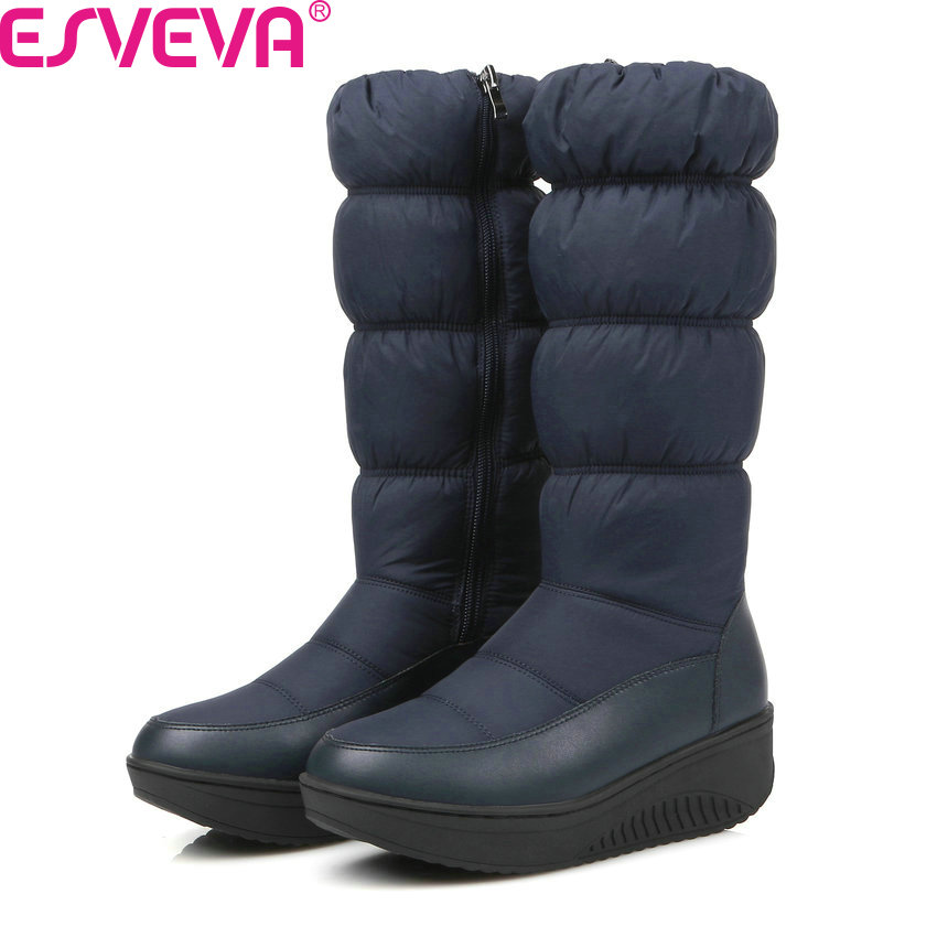 ESVEVA 2018 Women Boots Winter Down Surface Short Plush Snow Boots Thick Velvet Med Heel Mid-Calf Boots Ladies Boots Size 35-43