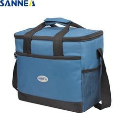 Изолированная Термосумка для ланча SANNE, Большая вместительная Водонепроницаемая Портативная сумка для ланча из полиэстера, однотонная сум...