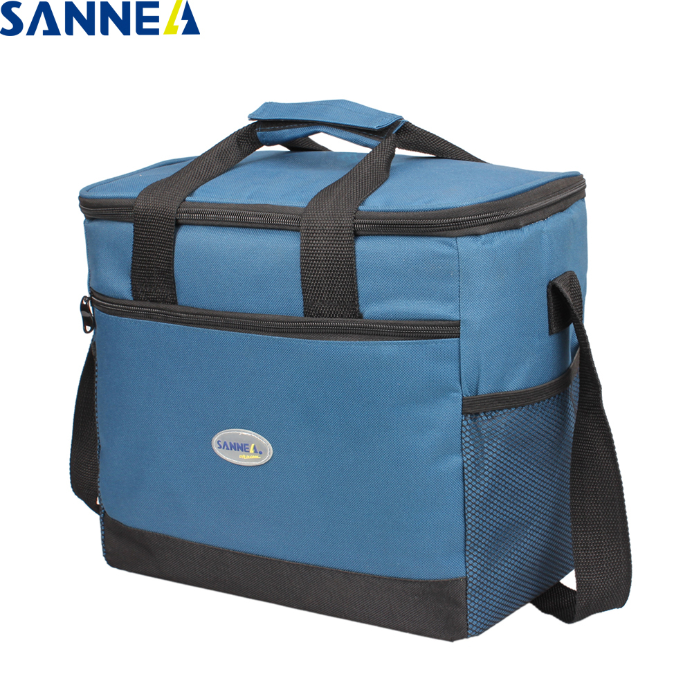 SANNE 16L Insulated Thermal Lunch Bag Big Capacity Polyester Waterproof Portable Lunch Bag Solid Color With Pocket Lunch Bag