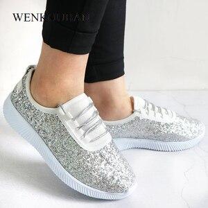 Image 4 - Sapatilhas femininas bling sapatos das senhoras verão brilho tainers mulheres sapatilhas brancas sparkly sapatos casuais cesta femme zapatos mujer