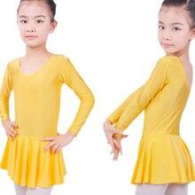 Футболка с длинными рукавами из спандекса, для гимнастики трико для Балетное платье для девочек Костюмы Детская Одежда для танцев