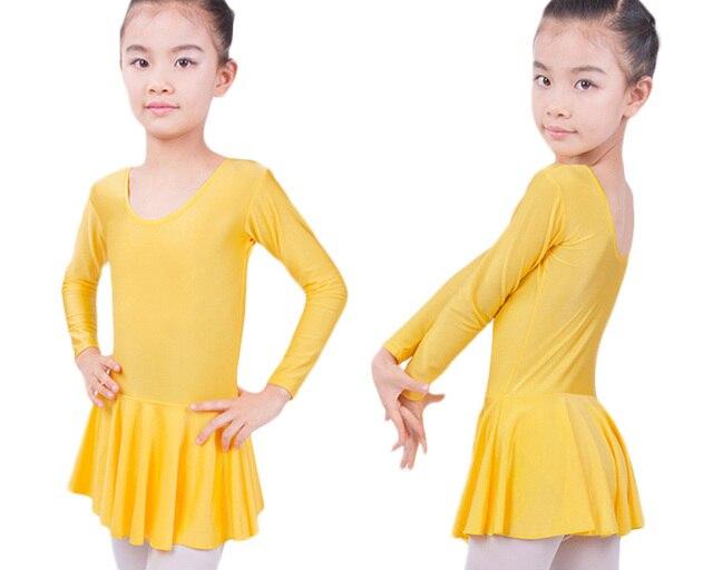 Гимнастическое трико из спандекса с длинными рукавами для девочек; балетное платье; детская Одежда для танцев
