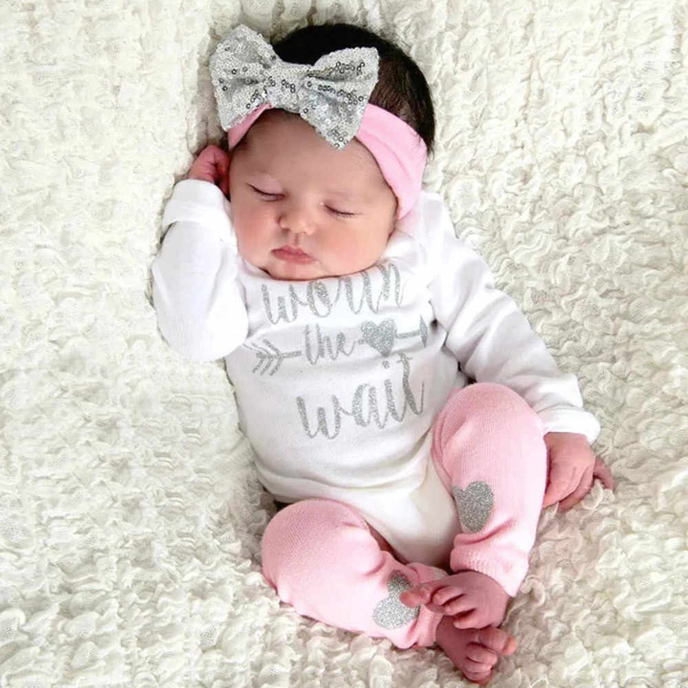 Newborn Infant Baby Girls Letter Romper Jumpsuit Leggings 3Pcs Outfits Set baby Girls clothes infant Soft hand feeling 35