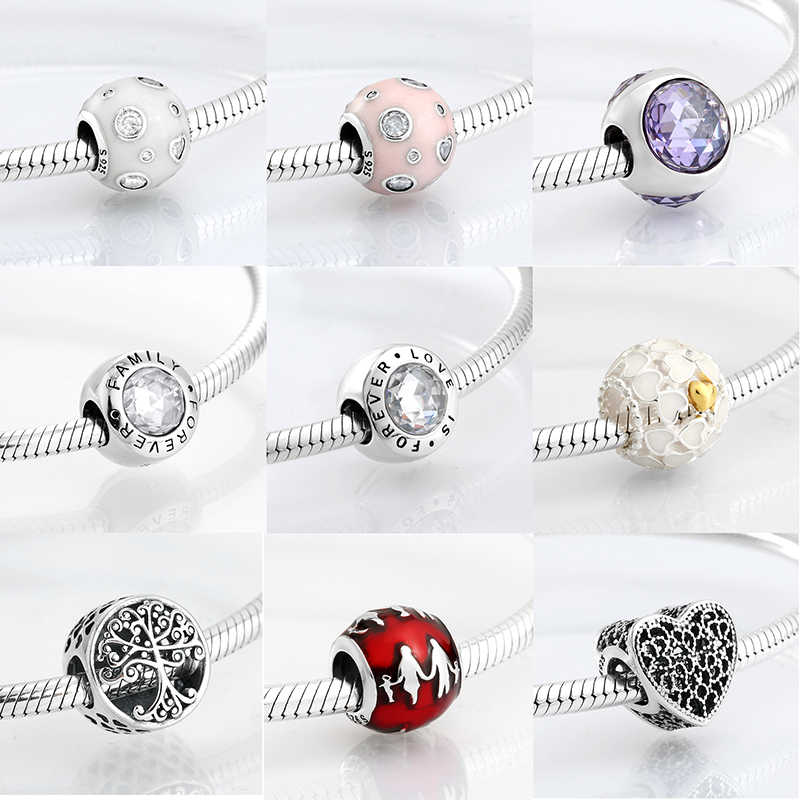 New 925 Sterling Silver Love Family Enamel Round shape CZ Beads Fit Original Charms Pandora Bracelet Bead Jewelry making Bijoux