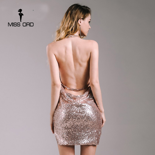 Missord 2017 Sexy sleeveless Deep-V halter split sequin dress  backless metal  Christmas  party dress FT4928