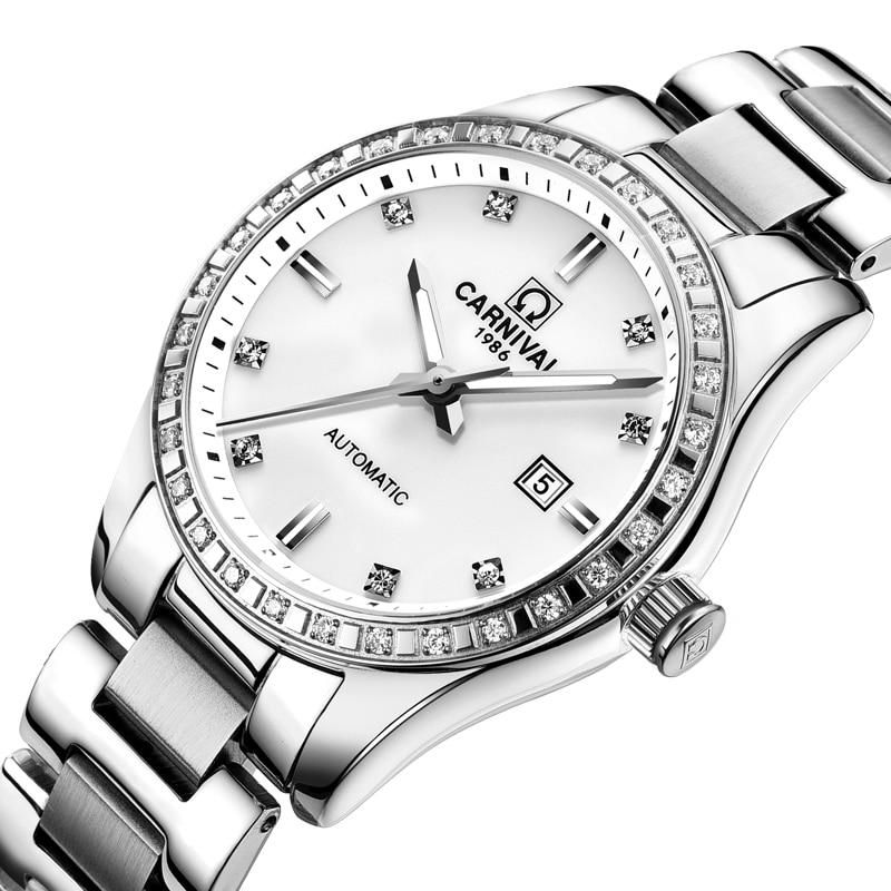 Saatler'ten Kadın Saatleri'de Isviçre Karnaval Kadın Saatler Lüks Marka bayanlar Otomatik Mekanik İzle Kadınlar Su Geçirmez relogio feminino 8685L 3'da  Grup 1
