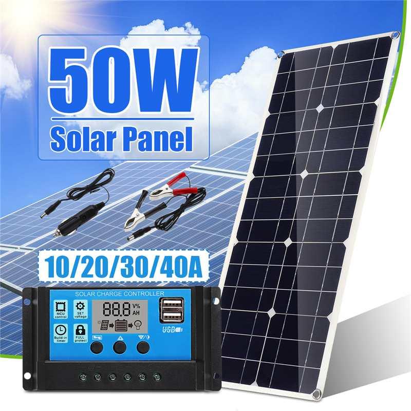 Panneau solaire chaud de 50 W avec USB avec le double contrôleur de régulateur de panneau solaire d'usb de 10/20/30/40/50A ect pour la Charge de lumières de bateau de voiture RV