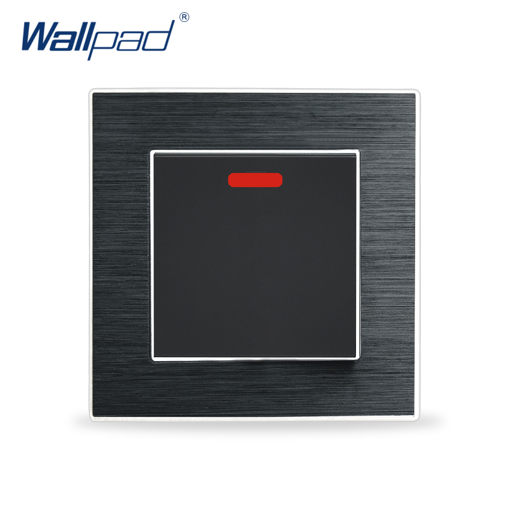 New Arrival 45A Cooker Switch Wallpad Luxury Wall Light Switch Aluminium Metal Panel Air Condition Rocker Switches Interrupteur hot sale wallpad luxury 45a wall switch goats brown leather air condition push button 45a wall switch with led free shipping