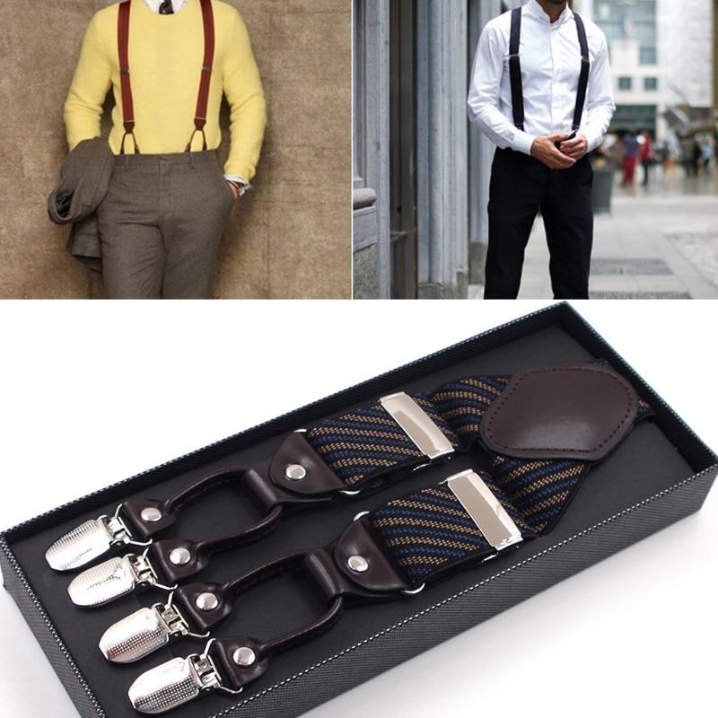 Men Stripe Y-Shape Suspender With Non-Slip 6 Clips Elastic Adjustable Pant Braces