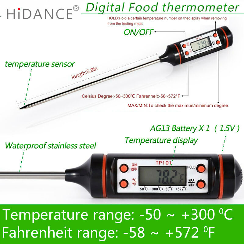 HiDANCE Electronic Digital Thermometer instruments hydrometer Meat Food Probe Kitchen Cooking weather station temperature sensor digital kitchen probe thermometer food cooking bbq meat steak turkey wine