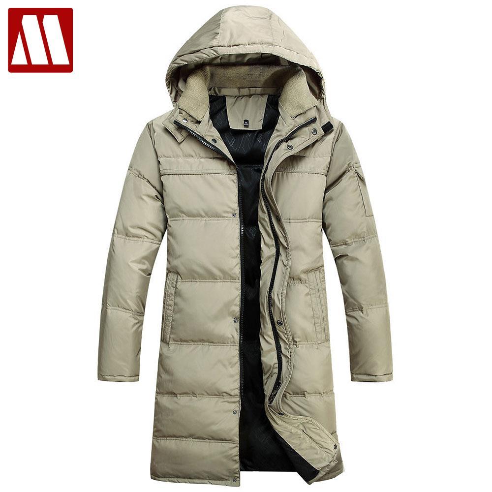 Модная парка пальто Для мужчин зимняя куртка Для мужчин Сгущает 90% Белые куртки-пуховики длинный плащ пальто Подпушка-куртка плюс Размеры д...