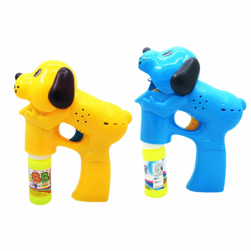Пистолет для мыльных пузырей, мыльная машина с пузырями, Детские автоматические электрические мыльные пузыри для собак из мультфильмов, пузырьковая воздуходувка, машина, свет, музыка D300304