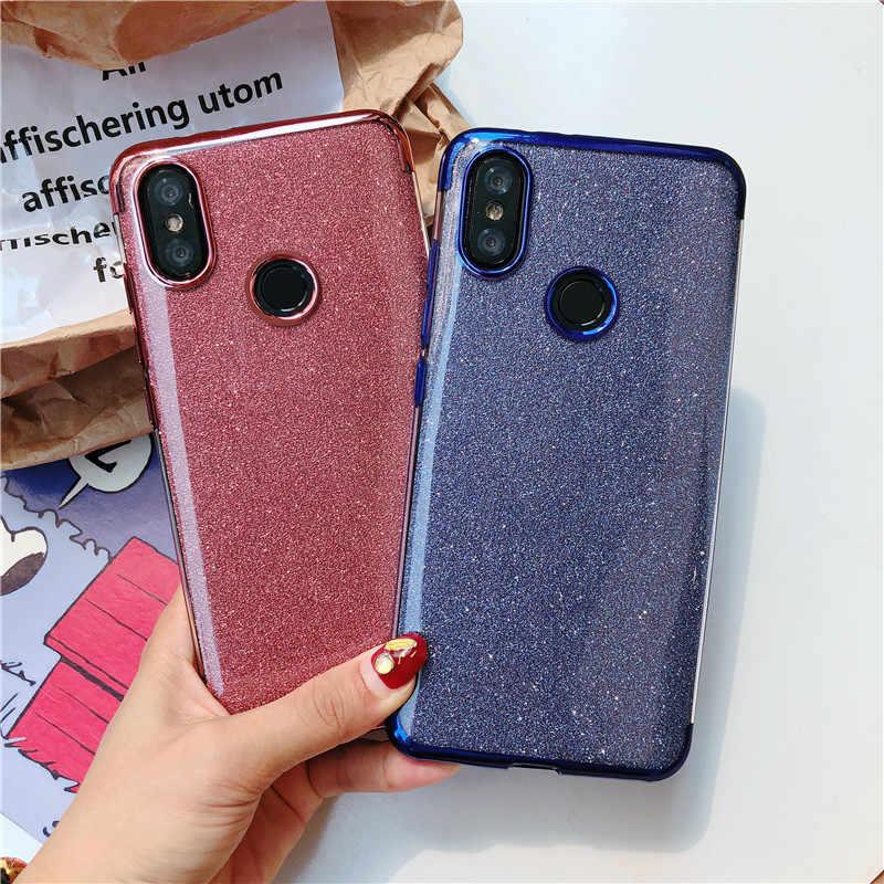 Glitter powrót ochronna telefon obudowa do Xiaomi A2 Lite A1 5X6X9 8 SE przypadku RedMi S2 uwaga 7 6 Pro 4X 6A 5A 5 Plus pokrywa silikonowa