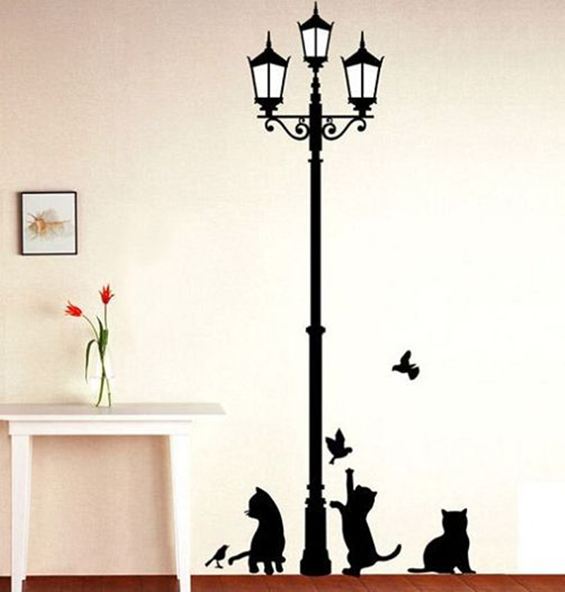 Free Shipping   Popular Ancient Lamp Cats and Birds Wall Sticker Wall Mural..