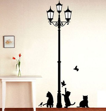 Popolare lampada antica gatti e uccelli adesivo murale adesivo murale decorazioni per la casa camera bambini decalcomanie carta da parati