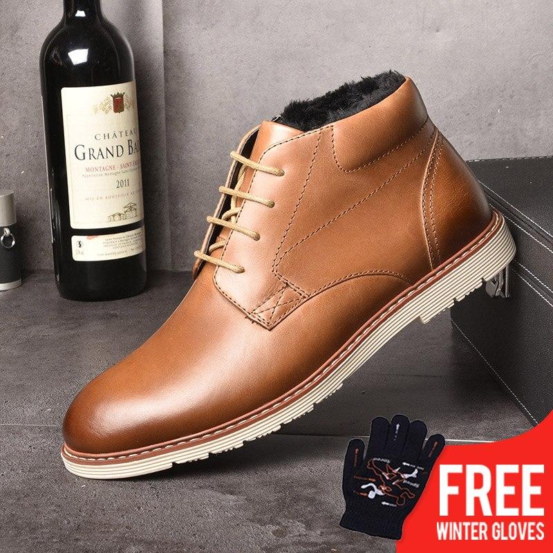 OSCO/мужские ботинки из натуральной кожи, осенне-зимняя мужская обувь, плюшевые теплые модные зимние ботинки с высоким берцем, большие размер...