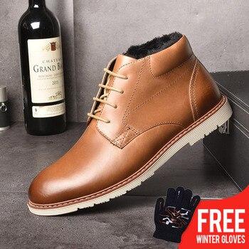 2ec0d600395e2a0 OSCO/мужские ботинки из натуральной кожи, осенне-зимняя мужская обувь,  плюшевые теплые модные зимние ботинки с высоким берцем, большие размер.