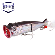 Купить с кэшбэком HAODIAOZHE Popper Hard Lure Fishing Lures 8cm 11g Topwater Disconnect Floating Wobblers Artificial Crank Pesca Feather Baits YU3