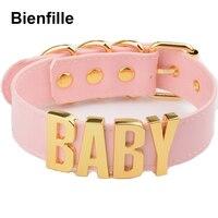 Personalized Charm Kawaii Gold Metal Baby Letters Choker Necklace Women Girl PU Pink Leather Punk Harajuku