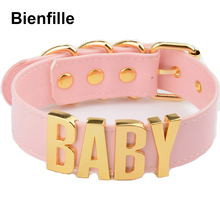 Personalized Charm Kawaii Gold Metal Baby Letters Choker Necklace Women Girl PU Pink Leather Punk Harajuku Collar Word Necklace