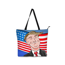 Canvas Shopping Bag Personalized Tote Bags Shoulder 3D Famous Person Figure Design Black Grocery Cotton Handbag