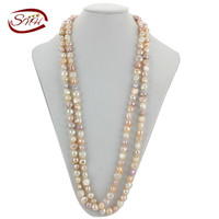 SNH 100% natural Pearl Necklace Beads Necklace 160CM 9 10mm Natural Freshwater Pearls Necklaces Wholesale