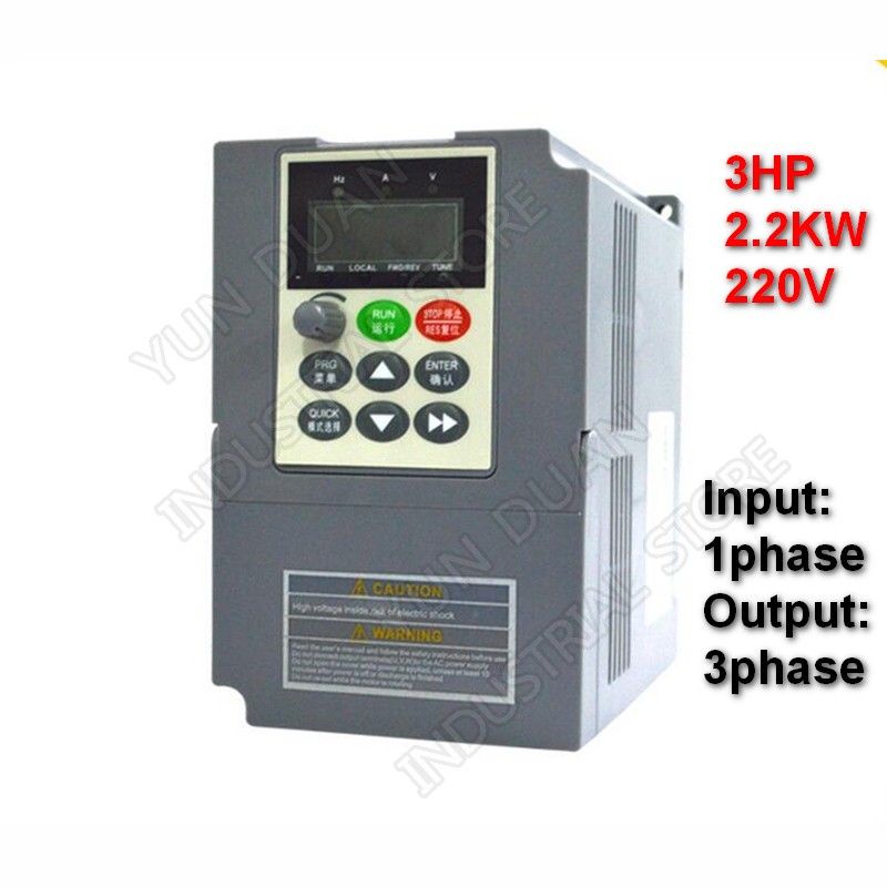 3HP 2 2KW 220V Single Phase Input 9 6A Vector VFD 3 Phase Output Universal Frequency