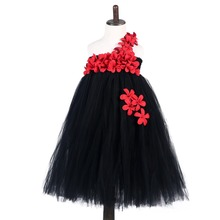 Ankle Length Girls Black Dress Red Flower One Shoulder Summer Girl Lace Long Tulle Teen Party Baby Clothes