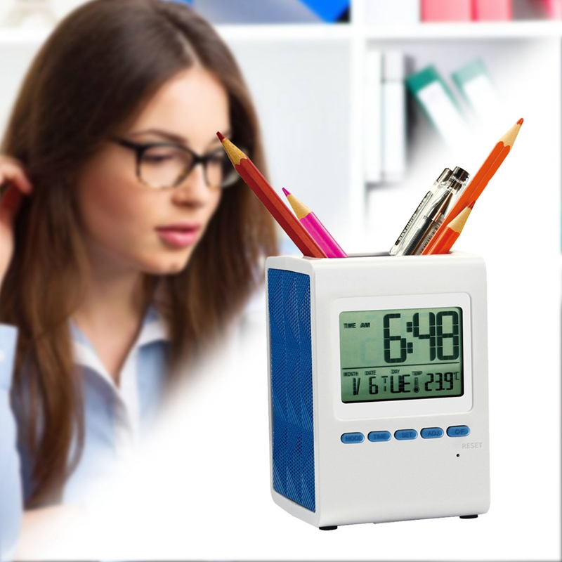 Multifunctional Electronic Pen Holder With Time Alarm Clock Music