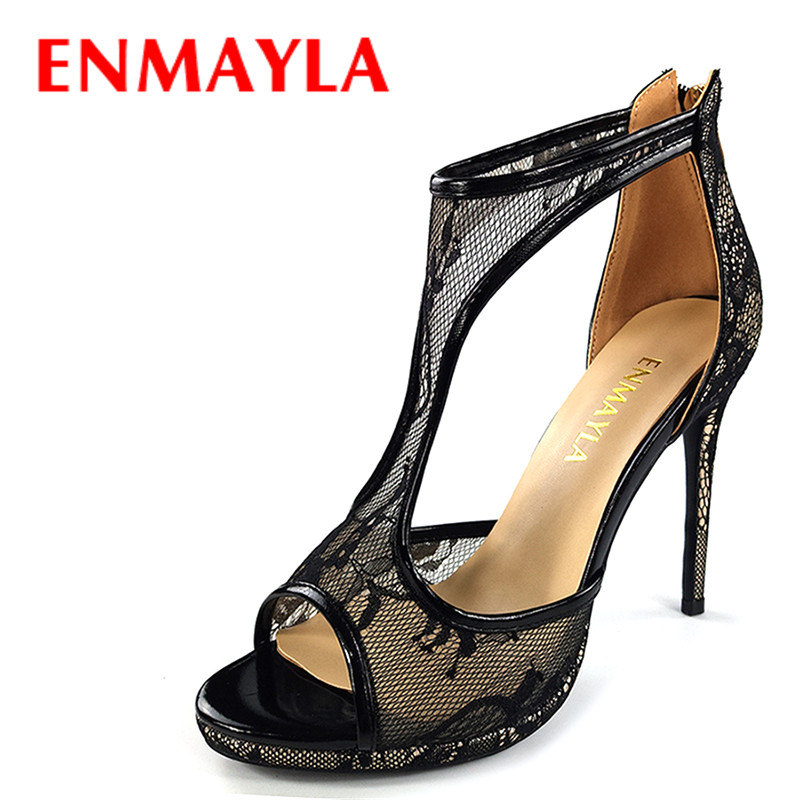 ENMAYLA Women High Heels Lace Shoes Woman T Strap Stiletto Heels Peep Toe Sexy Gladiator Sandals Women Party Wedding Shoes заколки автомат vel vett заколка автомат