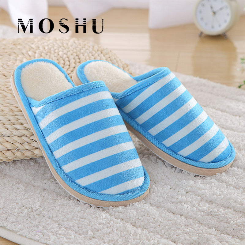 Women Cotton Slippers Men Autumn Winter Indoor Thick Soft Bottom Striped Slippers Warm Couple Non-slips Shoes For Bedroom House все цены