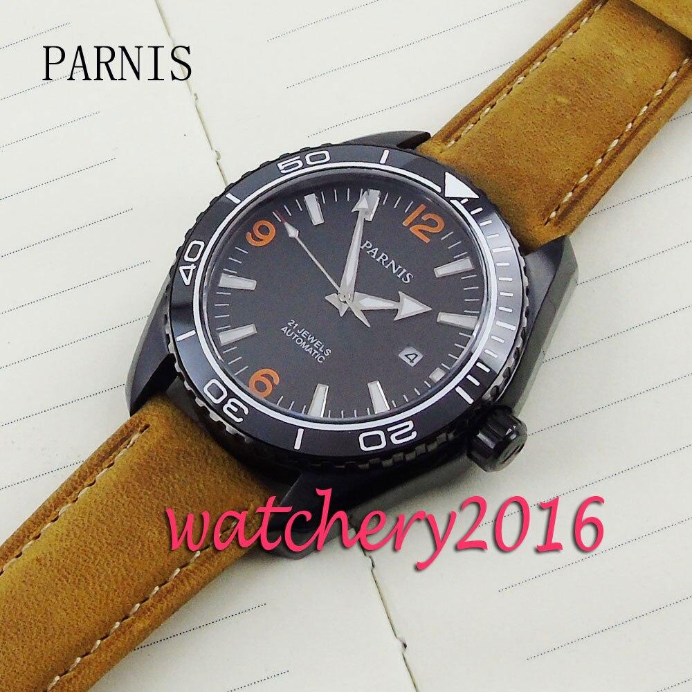73b2fe177e4 45mm Parnis mostrador preto data PVD caso camelo pulseira de couro Vidro de  Safira Painel de Cerâmica Mens Relógio Automático em Relógios mecânicos de  ...