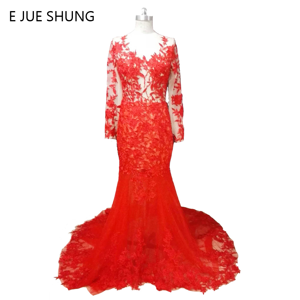 E JUE SHUNG Red Lace Appliques Mermaid Long Wedding Dresses Long Sleeves Ռոմանտիկ Արաբական Հարսանյաց զգեստներ