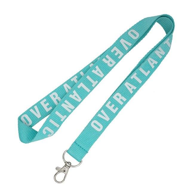 150 pçs/lote 2x90 cm cordão personalizado, colhedor da impressão de logotipo personalizado marca OEM para teclas do telefone móvel alça de pescoço em azul claro
