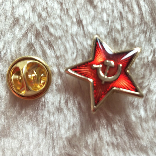 Ussr 20mm Russia Red Star Sickle Hammer Lapel Pin Brooch Enamel Pins Cold War World War II Badge Five Pointed Star Souvenir