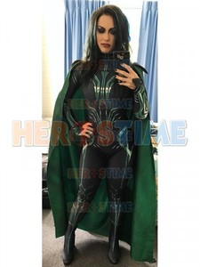 Image 3 - Thor Ragnarok Cosplay Hela, disfraz de superhéroe Zentai para fiesta de Halloween, Mono para adultos con capa, hecho a medida
