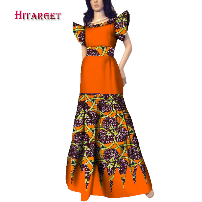 african dresses for women o neck and Splicing long dress for party wedding africa women dress 100 cotton african clothing WY3567 in Africa Clothing from Novelty Special Use