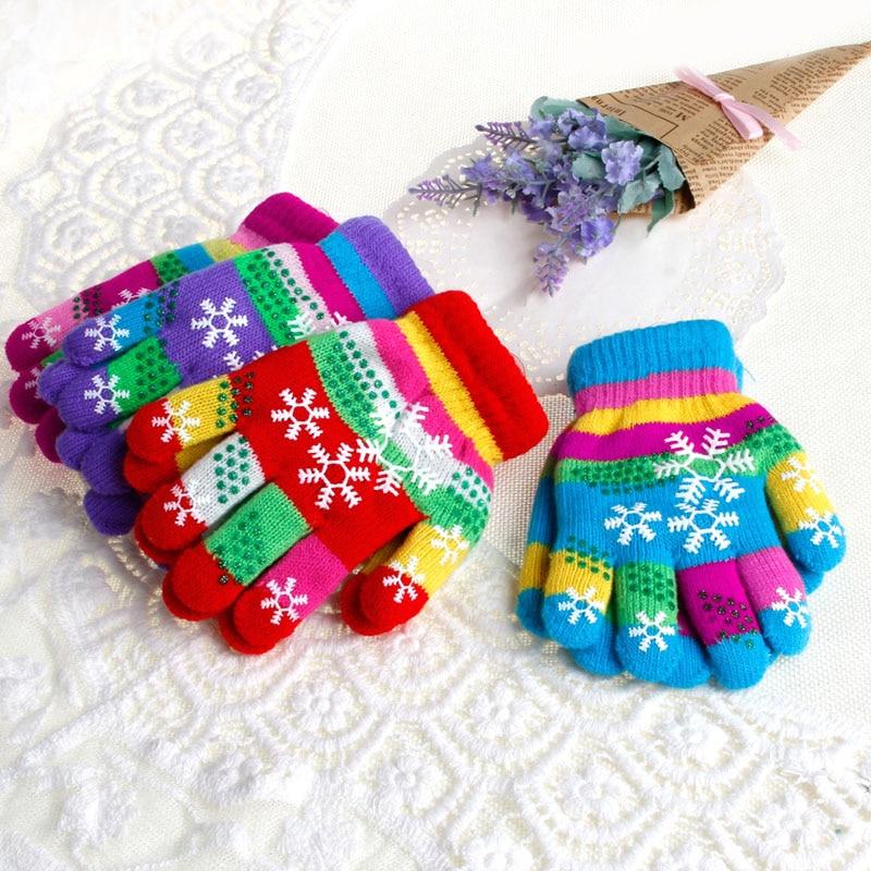 Hot S/M/L Winter Children Bi-layer Thickened Warm Snow Print Colored Yarn Knit Gloves