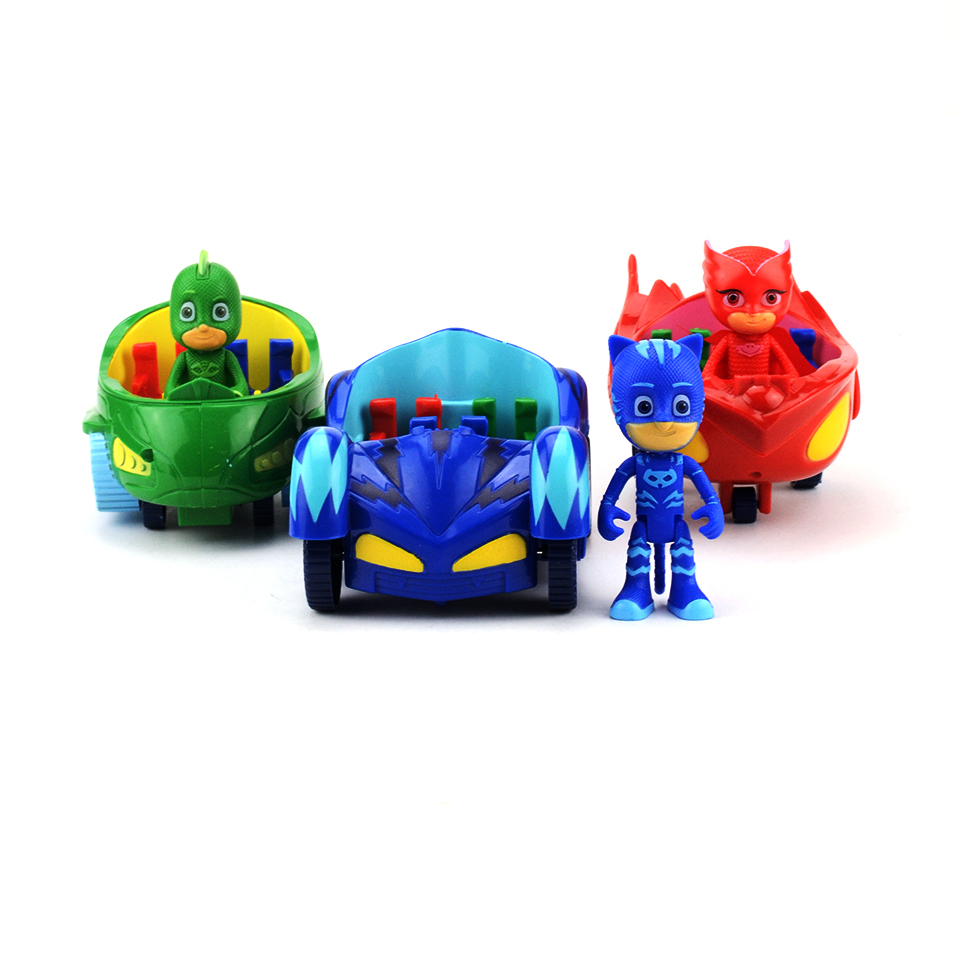 Hot Cartoon PJ Figure Mask With Car 15cm Catboy Owlette Gekko Pjmasksed Anime Action Figures Toys Birthday Gift Toy for Boys 6pcs set disney toys for kids birthday xmas gift cartoon action figures frozen anime fashion figures juguetes anime models