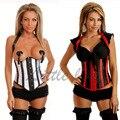 Mujeres libres del envío de la ropa interior gótica de la raya del satén del corsé de Underbust Corset reductora Bustier Tops de Halloween