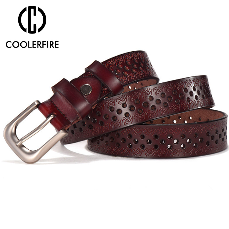COOLERFIRE New Sale High Quality Luxury   Belt   Genuine Leather Female Waist Strap Top Pin Buckle   Belts   For Lady Waistband LB020