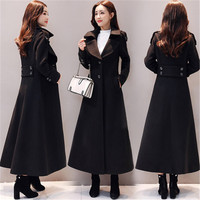 Fashion Extra long Woolen Coat Women 2020 Autumn Winter New Waisted X Long Wool Trench Coat Black Overcoat X420