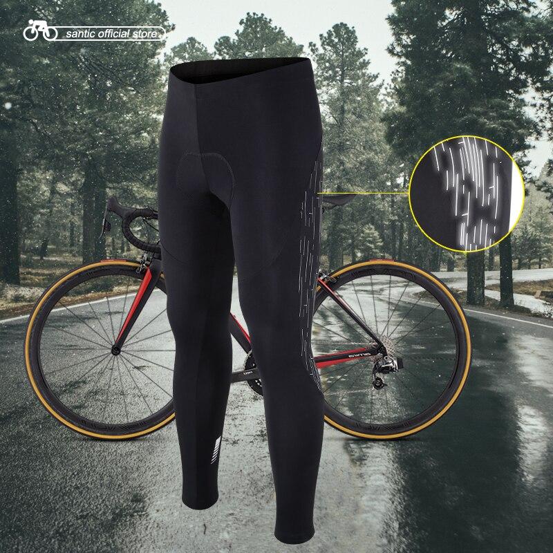Santic Men Cycling Long Padded Pants Winter 4D Cushion Pad Reflective Thermal Pants Keep Warm Cycling
