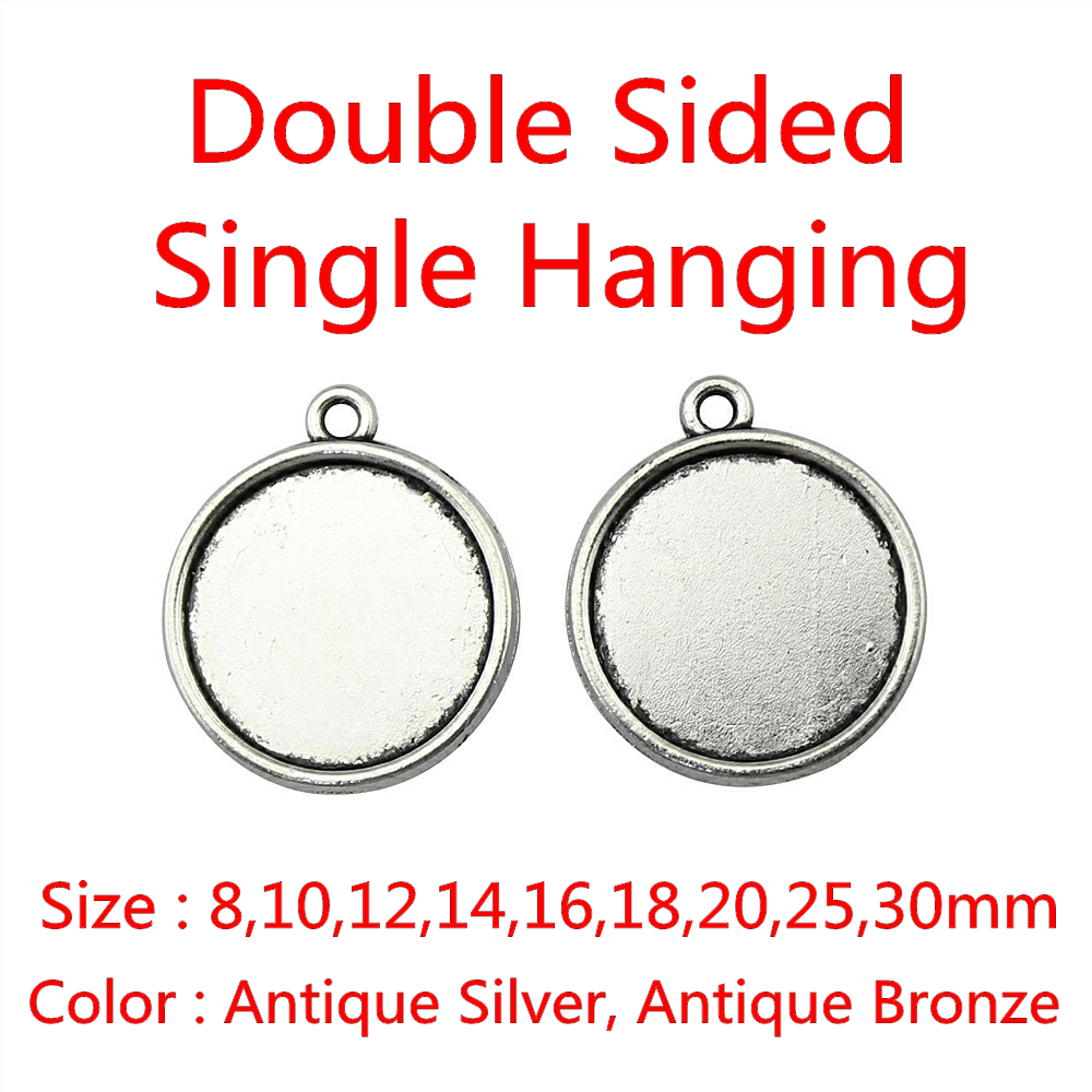 20pcs Fit 8/10/12/14/16/18/20/25/30mm Double Sided Classical Zinc Alloy Cameo Cabochon Base Setting For DIY mibrow 10pcs lot stainless steel 8 10 12 14 16 18 20mm blank french lever earring tray cabochon setting cameo base jewelry