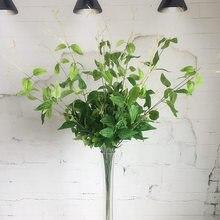 Клематис Плакучая ива ветка дешевая зелень Искусственные цветы с листьями для цветочной композиции украшения поддельные растения